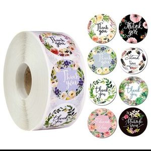 500pcs/roll Round Floral Thank You Stickers